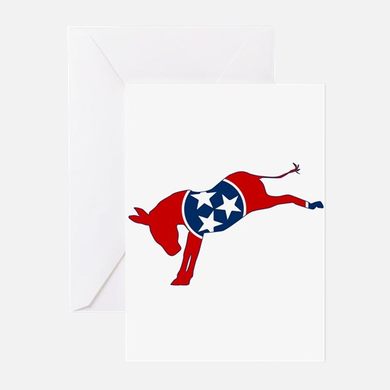 Tennessee Democrat Donkey Flag Greeting Cards