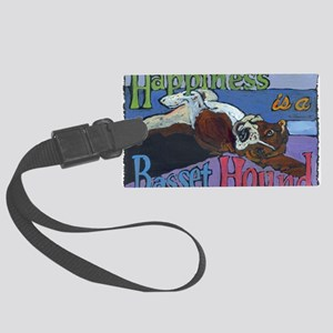 Happiness is a Basset Hound Large Luggage Tag