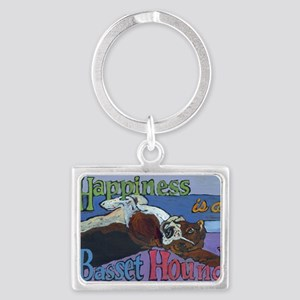 Happiness is a Basset Hound Landscape Keychain