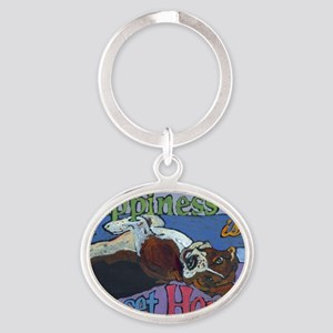 Happiness is a Basset Hound Oval Keychain