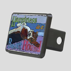 Happiness is a Basset Houn Rectangular Hitch Cover