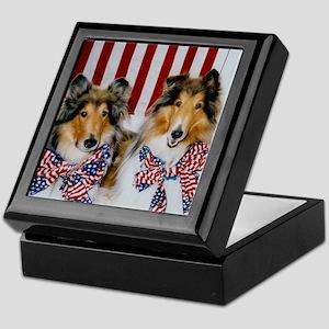 Patriotic Collies Keepsake Box