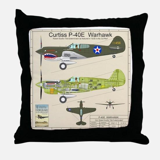 P-40_Co-Pilot_Back Throw Pillow