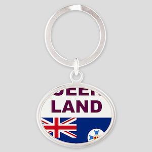 QLD-Maroon-Light Oval Keychain