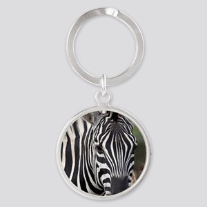 single zebra Round Keychain
