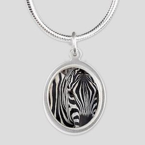 single zebra Silver Oval Necklace