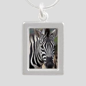 single zebra Silver Portrait Necklace