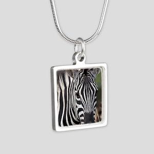 single zebra Silver Square Necklace