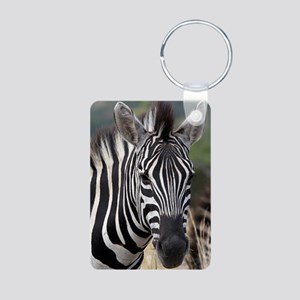 single zebra Aluminum Photo Keychain
