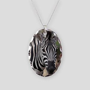 single zebra Necklace Oval Charm