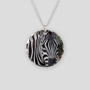 single zebra Necklace Circle Charm