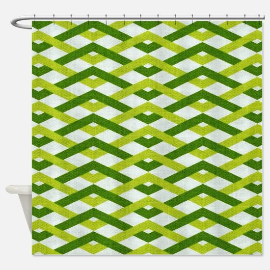 Groovy Green Weave Shower Curtain