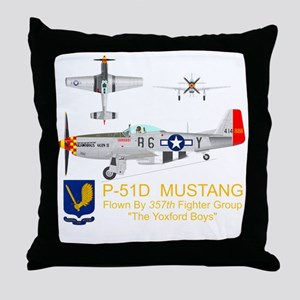 Mustang_Yeager_Front_Dk Throw Pillow