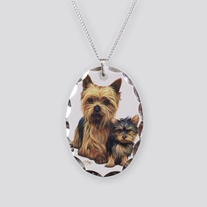 Yorkie Terrier  Pup Necklace Oval Charm