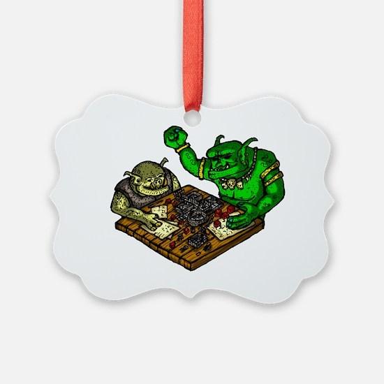 Trolls playing a Fantasy RPG Ornament