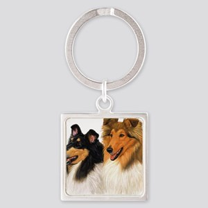 Double Rough Collie Square Keychain