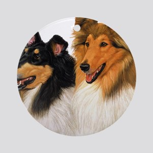 Double Rough Collie Round Ornament