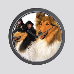 Double Rough Collie Wall Clock