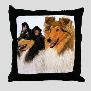 Double Rough Collie Throw Pillow