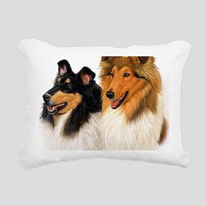 Double Rough Collie Rectangular Canvas Pillow