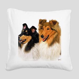 Double Rough Collie Square Canvas Pillow