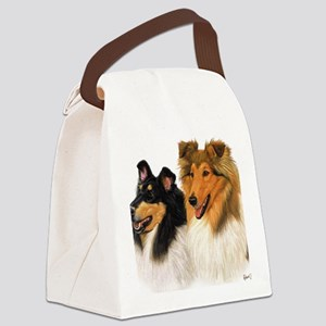 Double Rough Collie Canvas Lunch Bag