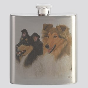 Double Rough Collie Flask