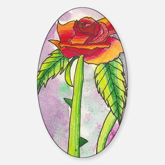 Rose_Mousepad Sticker (Oval)