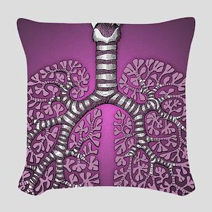 violetlungssquare Woven Throw Pillow