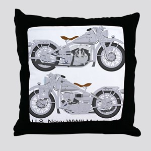 Motorcycle_Navy_Front Throw Pillow