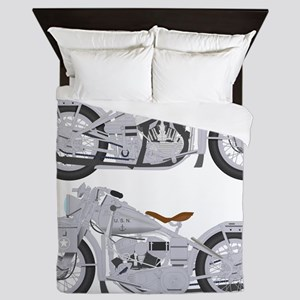 Motorcycle_Navy_Front Queen Duvet