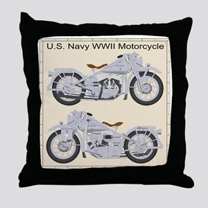 Motorcycle_Navy_Back Throw Pillow