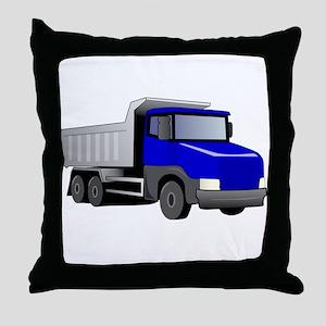 Blue Dump Truck Throw Pillow
