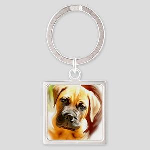 mastiff puppy portrait Square Keychain