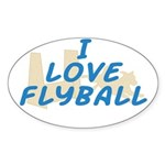 Love Flyball (2) Oval Sticker