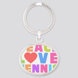 Peace Love Tennis M Oval Keychain