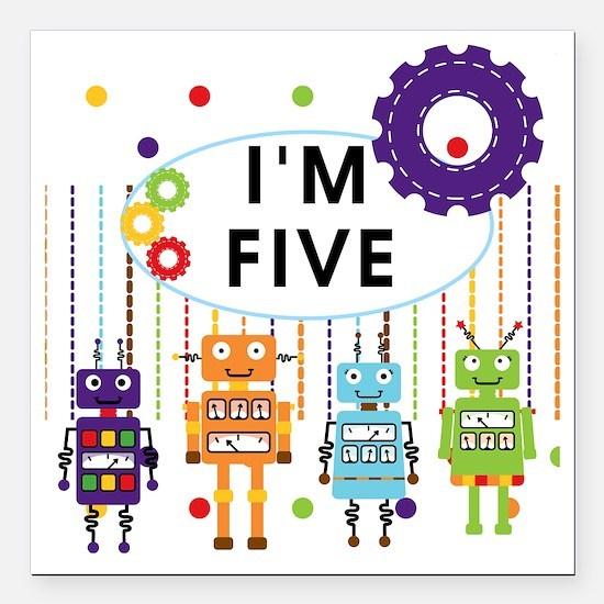 """ROBOTFIVE Square Car Magnet 3"""" x 3"""""""