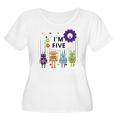 ROBOTFIVE Women's Plus Size Scoop Neck T-Shirt