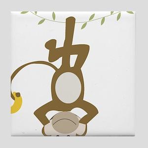 Monkey Around hanging Upside down Tile Coaster