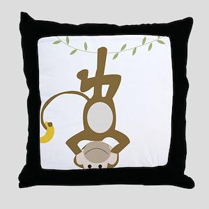Monkey Around hanging Upside down Throw Pillow