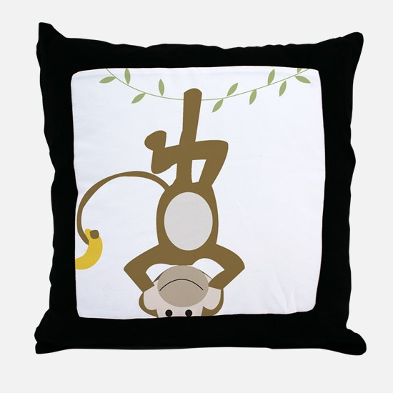 Monkey Around hanging Upside down Throw Pillow