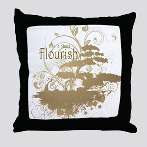 Bonsai Tree - Tan on Light Throw Pillow