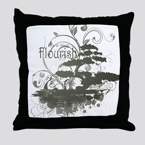 Bonsai Tree - Green on Light Throw Pillow