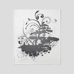 Bonsai Tree - Grey on Dark Throw Blanket