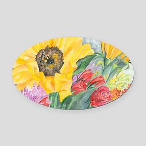 Courtneys Sunflower Oval Car Magnet