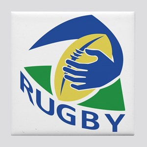 rugby ball hand holding Tile Coaster