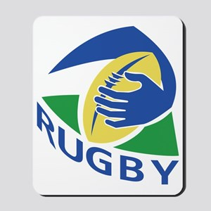rugby ball hand holding Mousepad