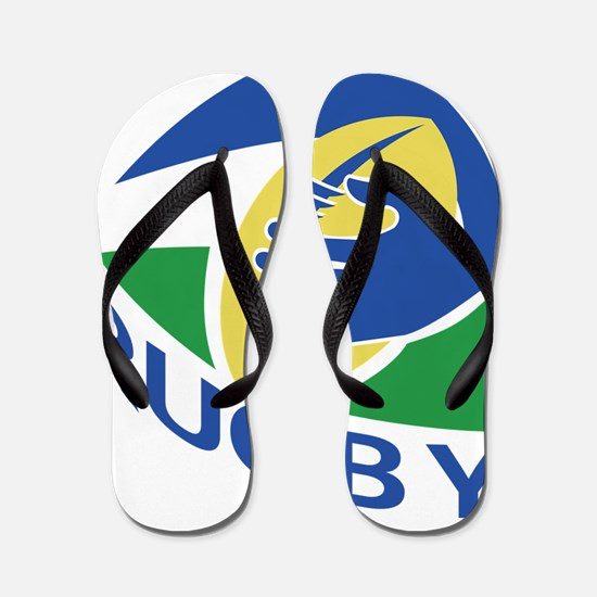 rugby ball hand holding Flip Flops