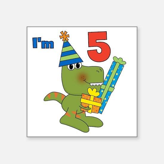 "Little Dino 5th Birthday Square Sticker 3"" x 3"""