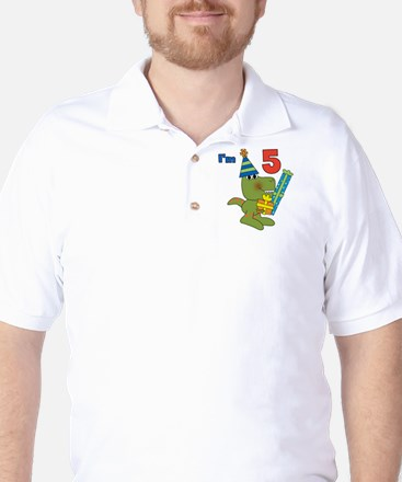 Little Dino 5th Birthday Golf Shirt